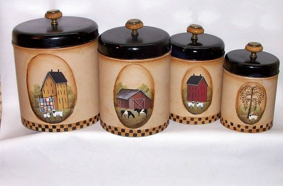 hand painted vintage metal canister set primitive by