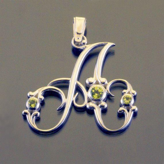 Silver alphabet letter initial monogram pendant baroque necklace with gemstones