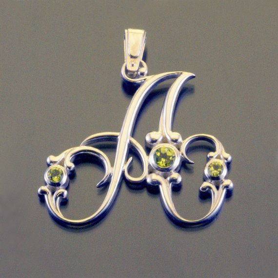Silver alphabet letter initial monogram pendant baroque necklace with gemstones