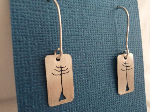 Handmade Tree Silver Earrings by PatagonianHands on Etsy, $30.00