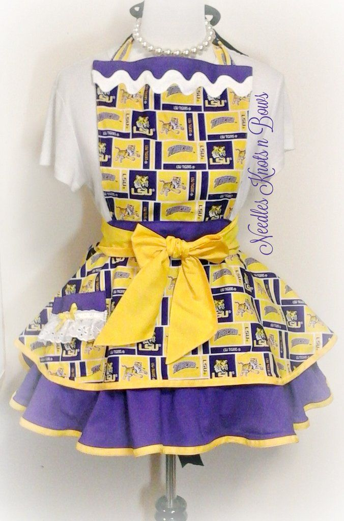 LSU Tigers Womens Apron, Louisiana State University Womens Flirty Host – Needles Knots n Bows