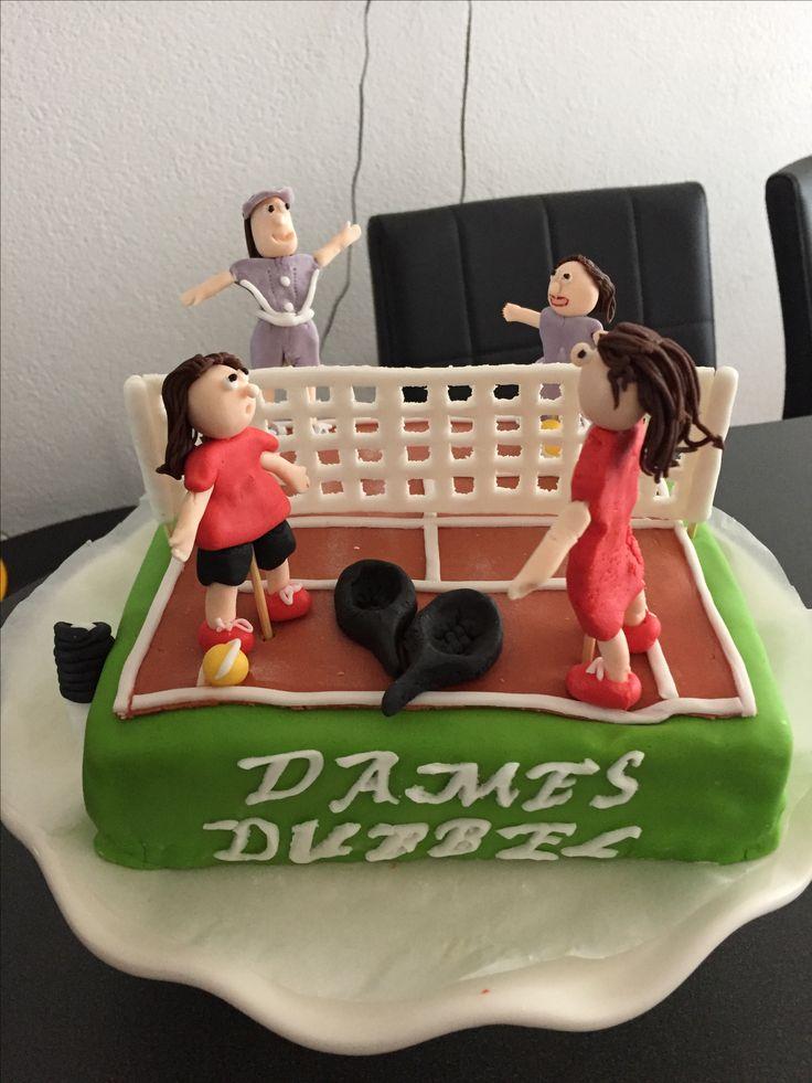 Dames dubbel tennis taart