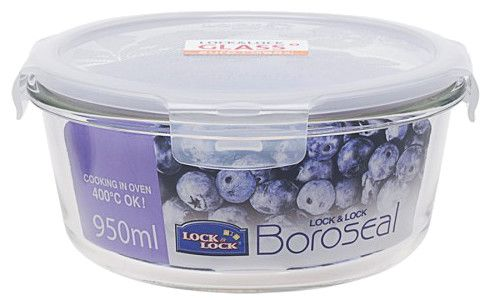 Boroseal II 4 Cup Heat Resistant Round Glass Container with Lid