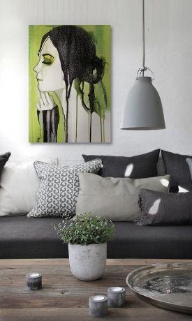 Canvastavlor i grönt. Gröna tavlor. modern kök med vacker tavla. snygg inredning