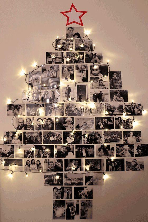 Sapin de Noël mural avec des photos et une guirlande  http://www.homelisty.com/deco-noel-pas-cher/