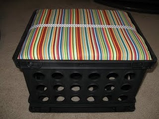 Seats for the kiddos made out of milk crates