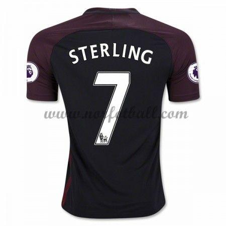 Billige Fotballdrakter Manchester City 2016-17 Sterling 7 Borte Draktsett Kortermet