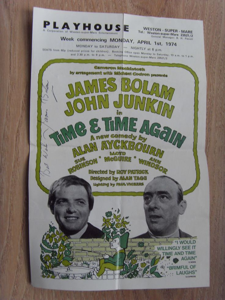 James Bolam and John Junkin in Time & Time Again. Playhouse, Weston-Super-Mare. 1974