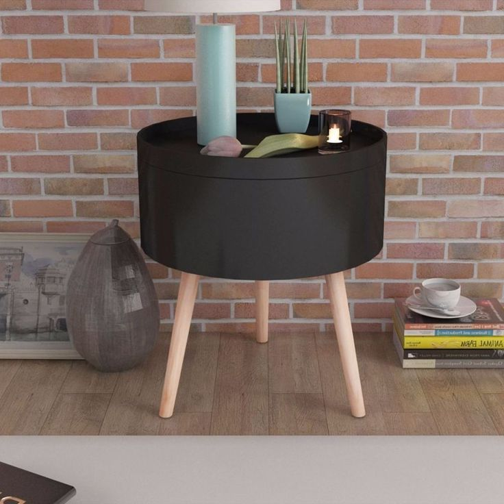 Round Coffee Table Black Living Room Modern Furniture Hallway Telephone Side NEW