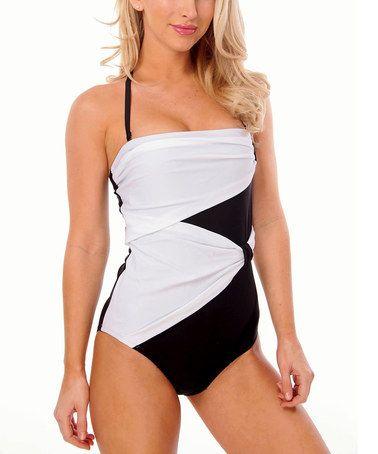 Love this Black & White Overlay Halter One-Piece - Women on #zulily! #zulilyfinds