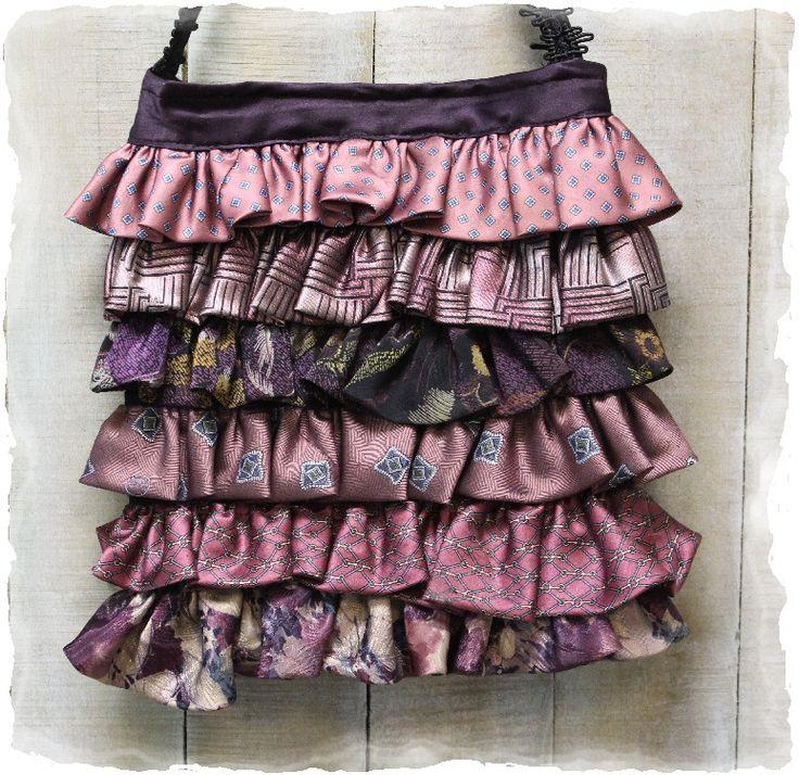 Purses, Necktie vintage purple/mauve  ruffle purse, OOAK, cute, unique, boho, handbag, Handmade | P2