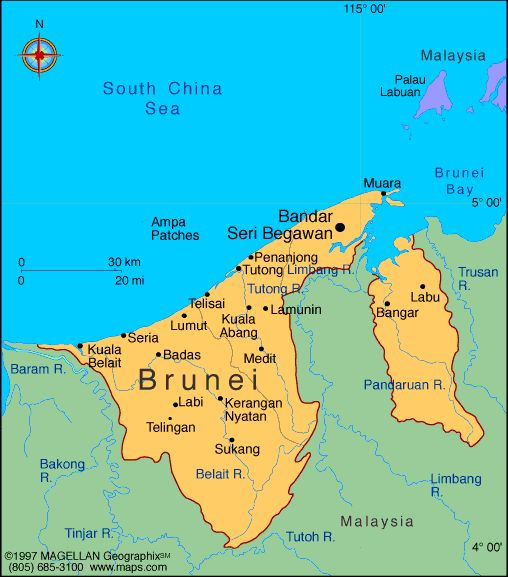 Map of Brunei Darussalam. Capital: Bandar Seri Begawan. Languages: Malay (official), English, Chinese Ethnicity/race: Malay 67%, Chinese 15%, indigenous 6%, other 12%.
