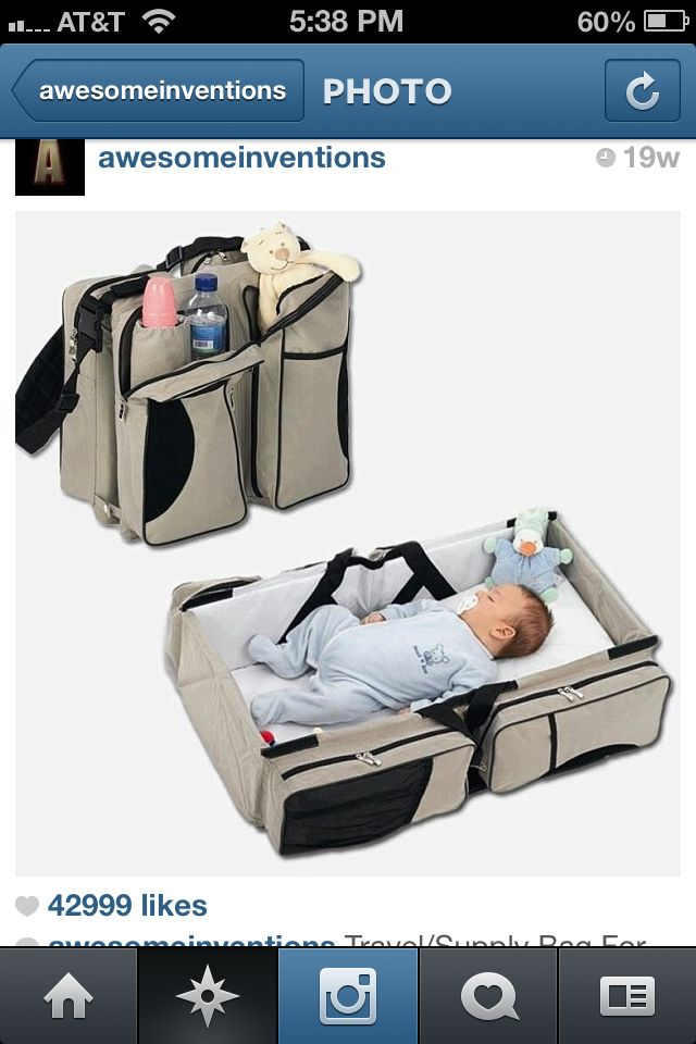 Cute diaper changing station and baby stuff holder!! http://www.awesomeinventions.com/shop/3-in-1-diaper-bag/