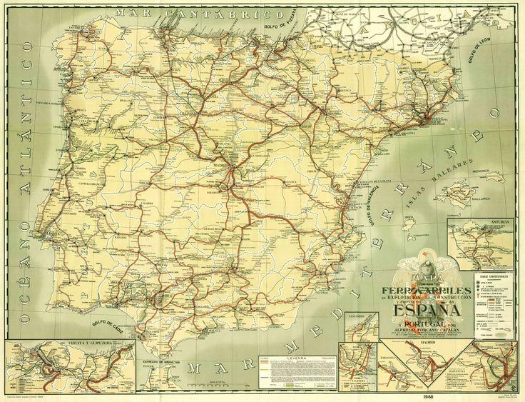 La belleza del Mapa de Ferrocarriles de España y Portugal de Forcano, de 1948
