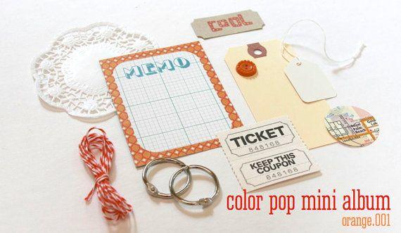 Mini Paper Kit Orange Color Pop DIY KIT Mini Album by ILoveItAll