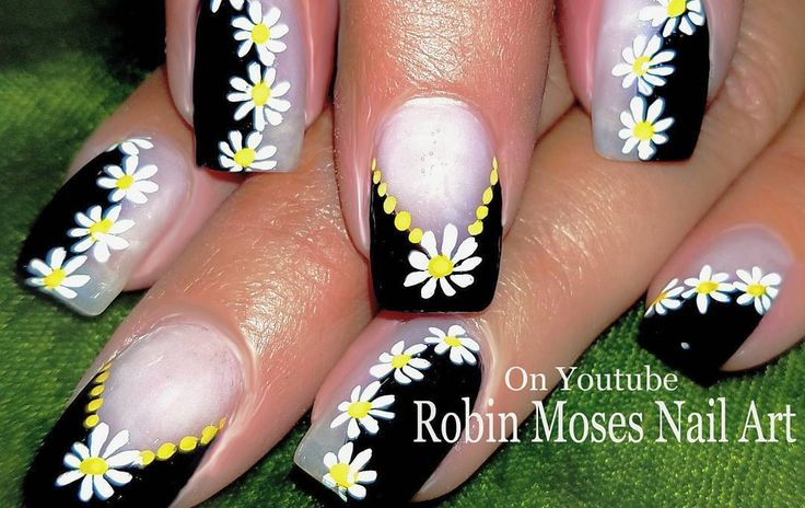 "488 Likes, 6 Comments - robin  moses (@robinmosesnailart) on Instagram: ""Please share! In the #daisynails playlist brushes at robinmosesnailart.com worldwide!"""
