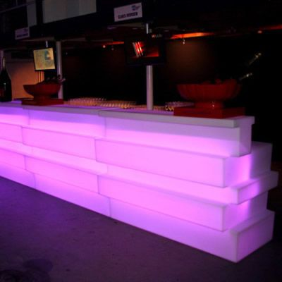 Bar modular, bufet, plastic, polietilena, luminos, rezistent, reciclabil, bar exterior, bar catering, bar evenimente, kit iluminare, bar outdoor, tejghea bar, bar workshop, statie de lucru, bar colorat, bar multicolor, bar cu LED telecomanda wireless