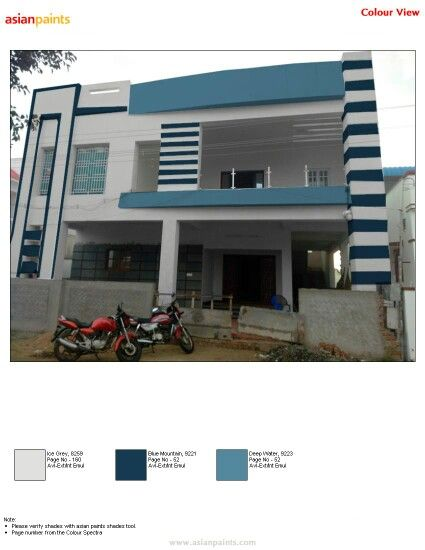 Simple N Elegant Elevation Grey With 2 Types Of Blue