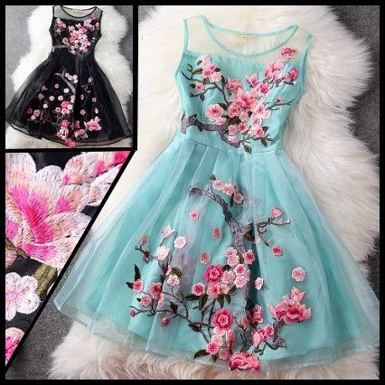 2014 spring new Women's fashion luxury handmade high quality embroidery organza tank dress