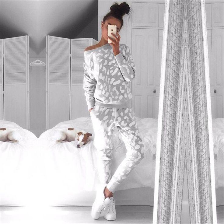 1 593,84 руб 2016 Осень Зима Женщины Одежда Повседневная Женщины толстовка + брюки 2 шт. Набор спортивный костюм балахон Уличной повседневная теплый костюм купить на AliExpress