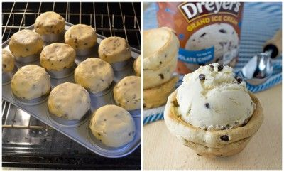 Using your favorite chocolate chip cookie recipe, form the bowl on the bottom of a muffin tin and bake. Then just let cool and fill the bowls with Chocolate Chip ice cream and serve your family's new favorite sundae!