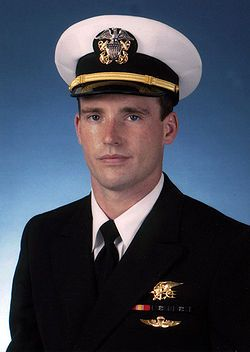 "Michael Murphy, a U.S. Navy officer, wearing a gold Navy Seal Trident.  Born: May 7, 1976, Smithtown, NY Died: June 28, 2005, Kunar Province, Afghanistan Height: 5' 10"" (1.77 m) Buried: Calverton National Cemetery, NY Education: Pennsylvania State University Parents: Daniel Murphy, Maureen Murphy"