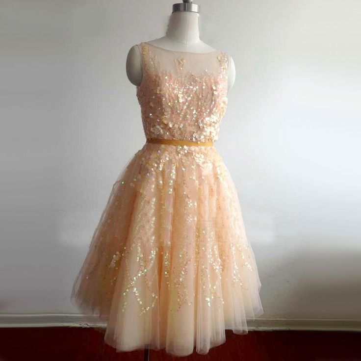Sexy Luxury Ball Gown Sparkly Beaded Sequins Mini Cocktail Dresses 2017 with Sash Orange Short Prom Gowns robe de cocktail TE26