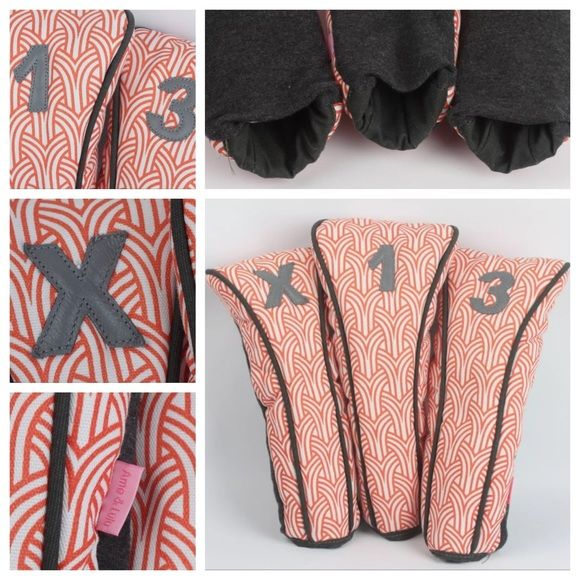 Ame & Lulu Head Cover Gold Set NWT AME & LULU Patterned Golf Cover Set 1 / 3 / X  BRAND NEW  Ame & Lulu Golf Head covers are Made in the USA golf essentials. Head cover set includes Number 1, Number 3, Number X with the Number 1 head cover fitting 460CC. Protects clubs while adding a sophisticated personal touch. Perfect on their own or as part of the Ame & Lulu golf set. Orange and white pattern with grey piping and numbers. Quality! {no trades, no paypal}  More information: - Made in the…