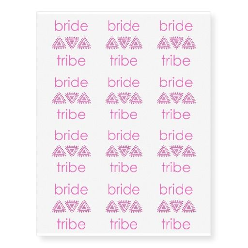 Bride Tribe Bright Pink Fun Design Temporary Tattoos