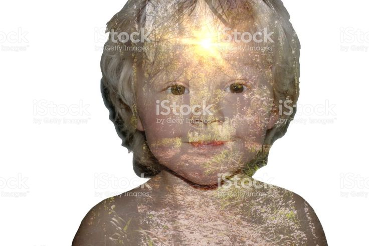 Double Exposure of Young Child with Nature royalty-free stock photo