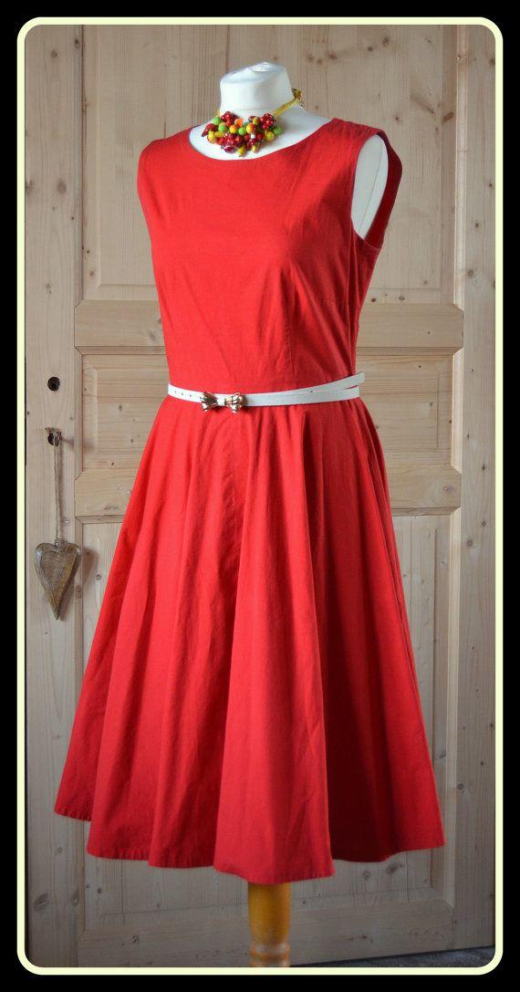 Vintage red cotton dress  1950s Rockabilly by CatsAndHatsVintage