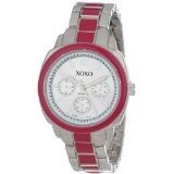 XOXO Women's XO111 Silver Dial Silver-tone and Pink Enamel Bracelet Watch (Watch)By XOXO