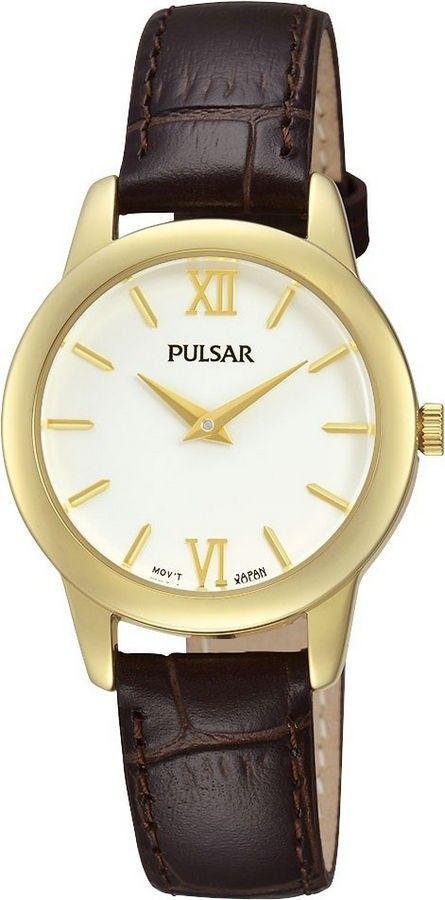 Pulsar Dameshorloge PRW020X1. Een klassiek horloge, uitgevoerd in goudkleur. Met een bruine lederen band. 3 atm Spat-waterdicht.