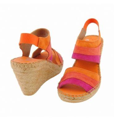 Alpargatas piel serraje rosa, coral y naranja - Paula Alonso - Tienda online