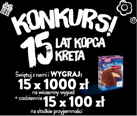 #konkurs #e-konkursy #pieniądze #kopiec kreta #konkursy promocyjne #dr.oetker https://www.e-konkursy.info/konkurs/konkurs-15-lat-kopca-kreta.html