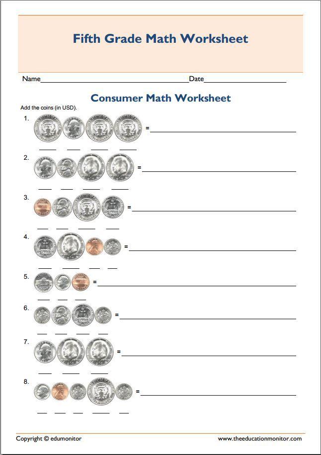 printable grade  consumer mathematics worksheet  fifth grade  printable grade  consumer mathematics worksheet  fifth grade worksheets   pinterest  worksheets th grade worksheets and fifth grade