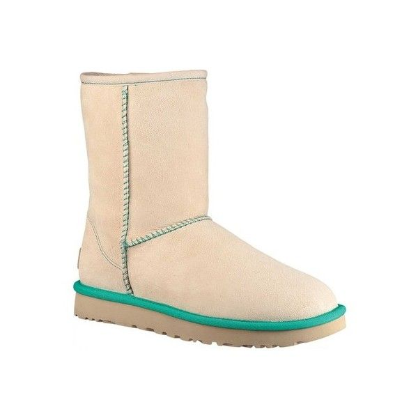 Women's UGG Classic Short II Neon ($160) ❤ liked on Polyvore featuring shoes, boots, ankle booties, flat heel boots, neon flats, faux fur boots, mid calf booties and short booties