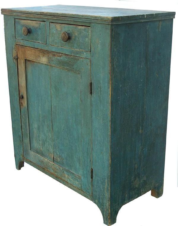 19th C. cupboard, 2 drawers over paneled door ...♥