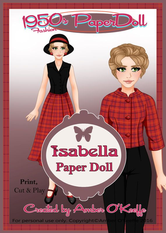 1950s Isabella Paper Doll Collection 9 by OkeeArts on Etsy