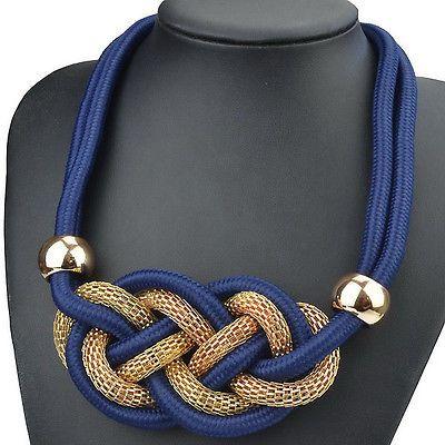 Candy Cord Knit Handmade Enticing Bib Statement Choker Necklace Pendant SX1459H