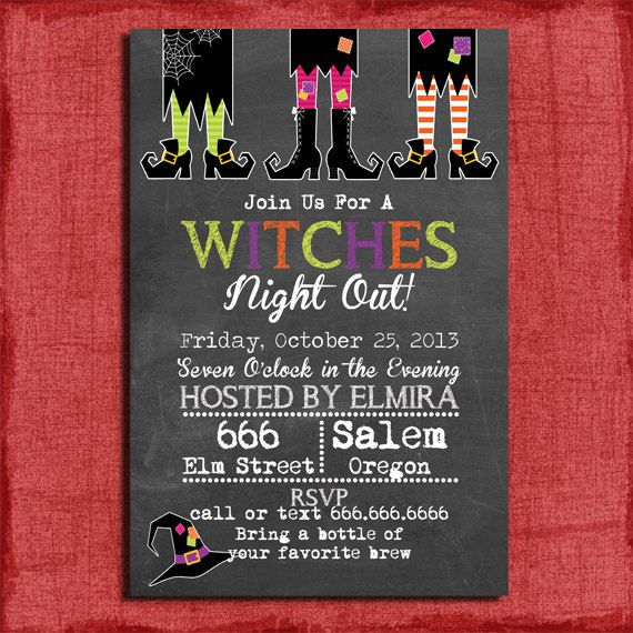 Printable Chalk style Witches Night Out Halloween by PuzzlePrints