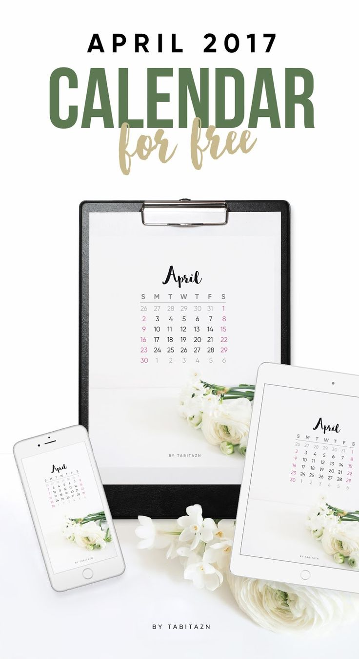 The free April 2017 Calendar + Tech Pretties with white flowers - fluffy buttercups and delicate daffodils