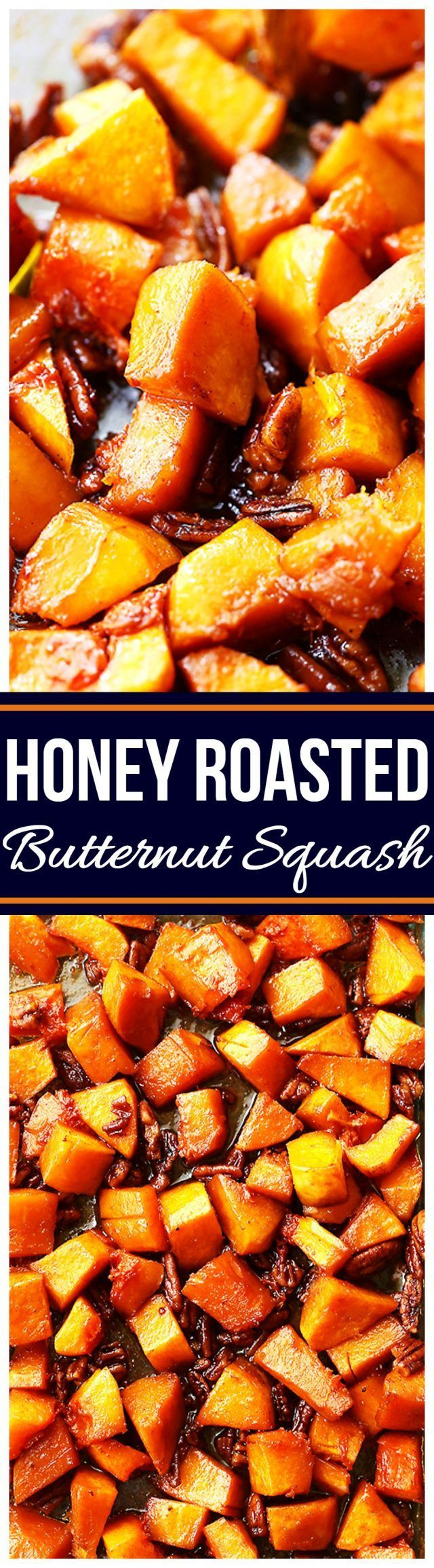 Honey Roasted Butternut Squash - A simple yet delicious side dish with roasted butternut squash and crunchy pecans combined with cinnamon and honey. Perfect for holidays, and weeknights, too!!