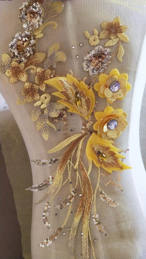 1 Pair Light Gold Embroidered 3D Flower Lace Applique Dress Clothes DIY Patch