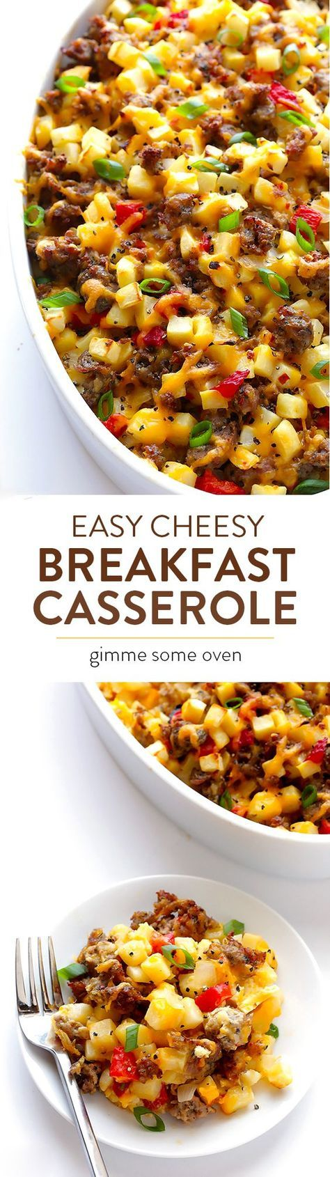 Easy Cheesy Breakfast Casserole -- full of sausage, eggs, potatoes, and always a crowd favorite!   gimmesomeoven.com
