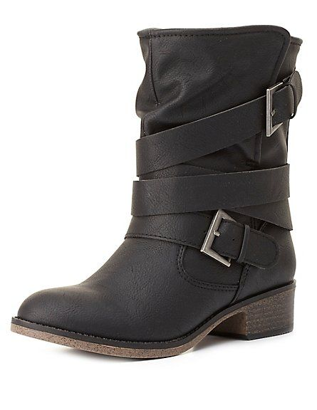 Belt-Wrapped Shearling-Lined Moto Boots