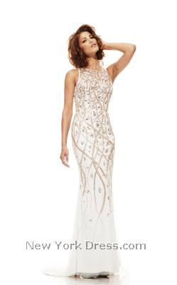 If you`re searching for a gorgeous gown, look no further than this lovely  ensemble from Johnathan Kayne A mature bateau neckline is refined against  the