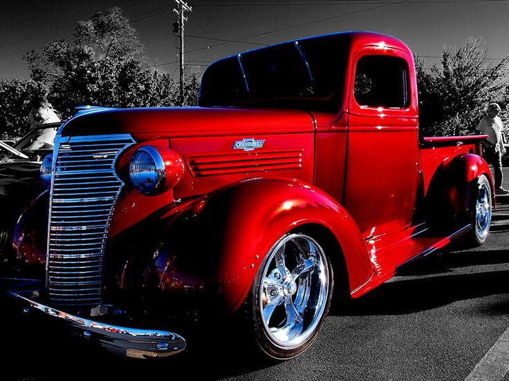 Desaturated Red Chevy Truck