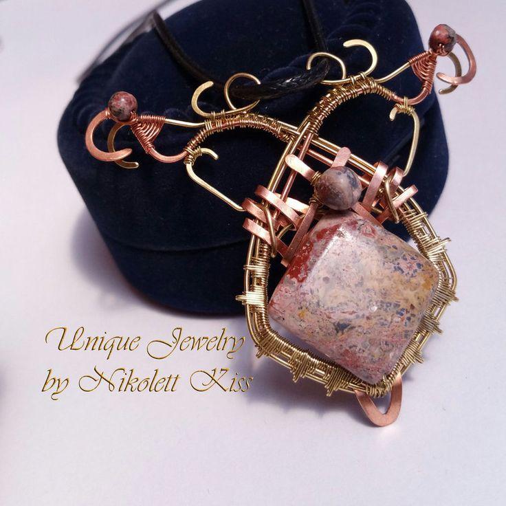 Handmade Copper Wire Leopardskin Jasper Pendant by NikolettKiss on DeviantArt