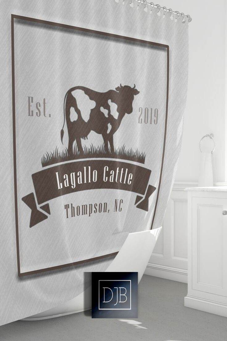 Farmhouse Cattle Shower Curtain Personalized Chic Farm Shower